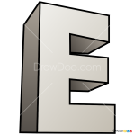 How to Draw E, 3D Letters