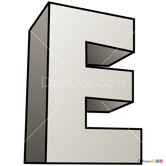 How To Draw E 3d Letters