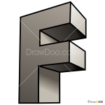 How to Draw F, 3D Letters
