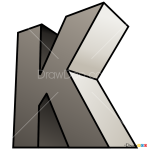 How to Draw K, 3D Letters