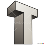 How to Draw T, 3D Letters
