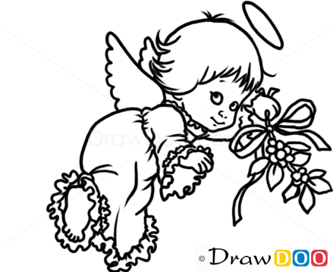 Christmas Pictures To Draw.How To Draw Cute Angel Christmas Angels