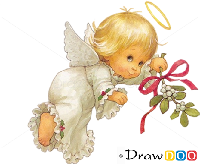 How to Draw Cute Angel, Christmas Angels