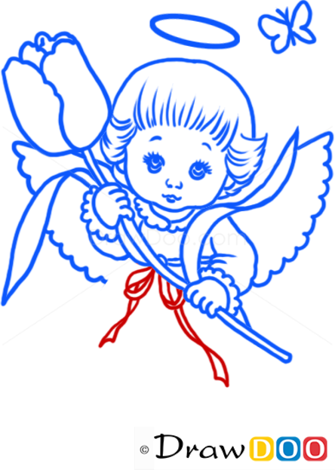 How to Draw Angel with Rose, Christmas Angels