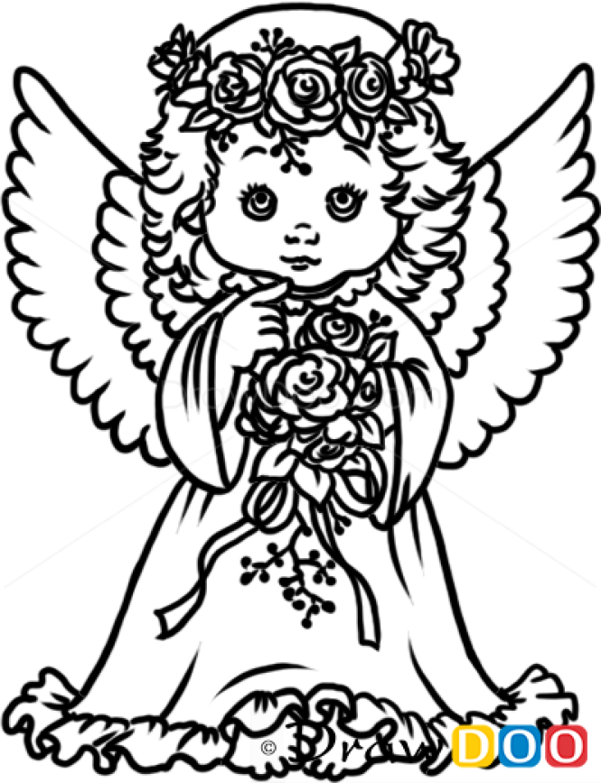 how to draw pretty angel christmas angels