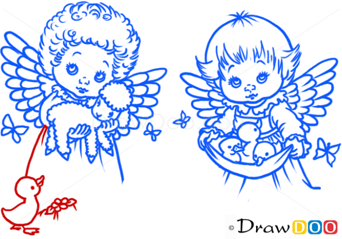 How to Draw Angels with Animals, Christmas Angels