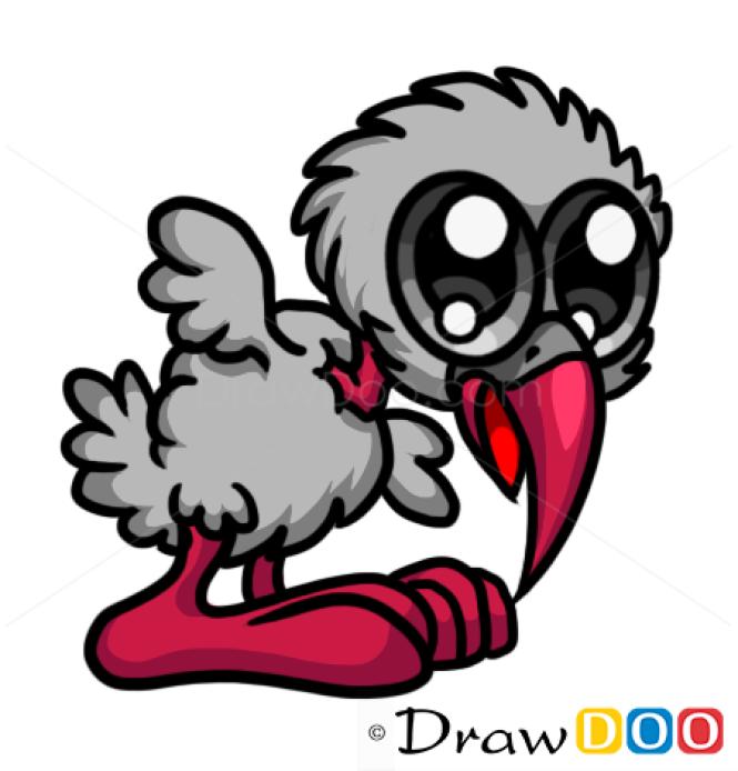 How to Draw Grey Bird, Cute Anime Animals