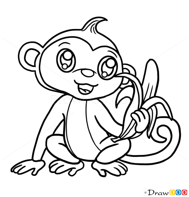 how to draw cute monkey cute anime animals