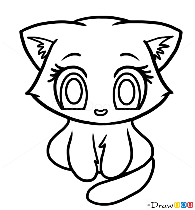 How to Draw Cute Kitten, Cute Anime Animals