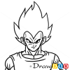 How to Draw Vegeta face, Dragon Ball, Anime Manga