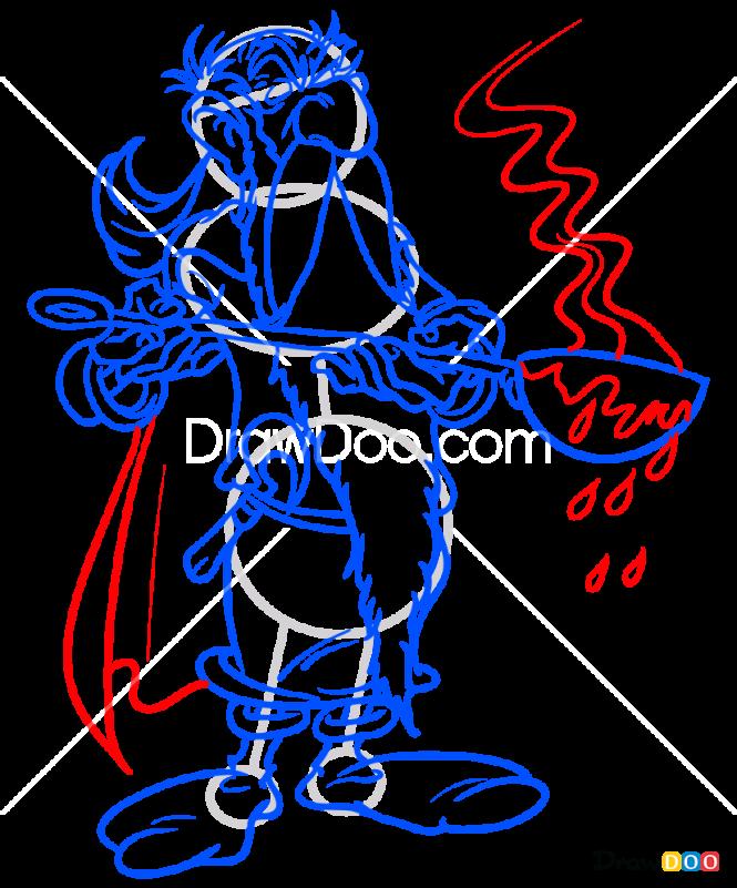 How to Draw Getafix, Asterix and Obelix
