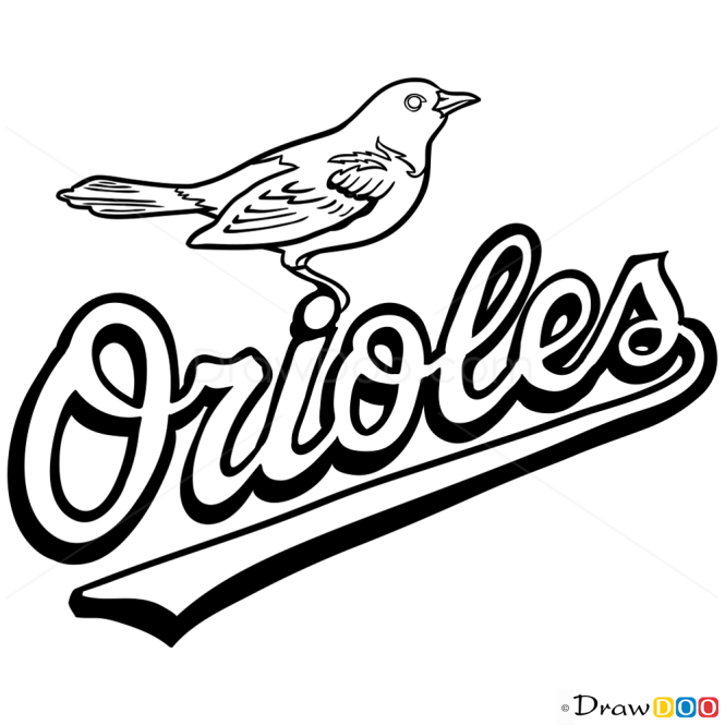 Drawing Lines With Php : How to draw baltimore orioles logo baseball logos