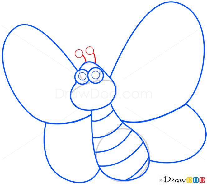 How to Draw Cartoon Butterfly, Butterflies