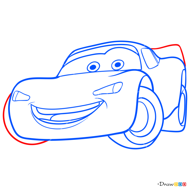 How to Draw Flash McQueen, Cars