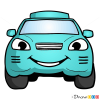 How to Draw Turquoise Car, Cartoon Cars