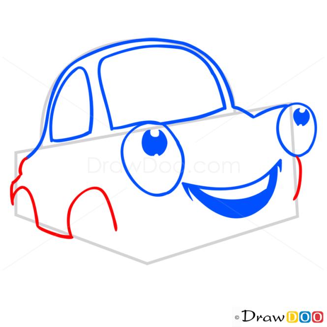 How to Draw Happy Car, Cartoon Cars
