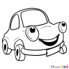 How to Draw Happy Car, Cartoon Cars