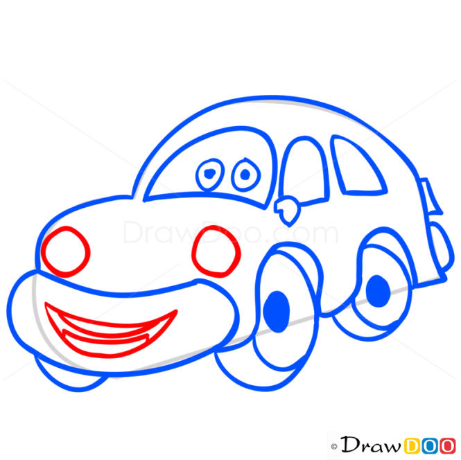 How to Draw Yellow Car, Cartoon Cars