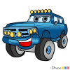 How to Draw Blue Jeep, Cartoon Cars