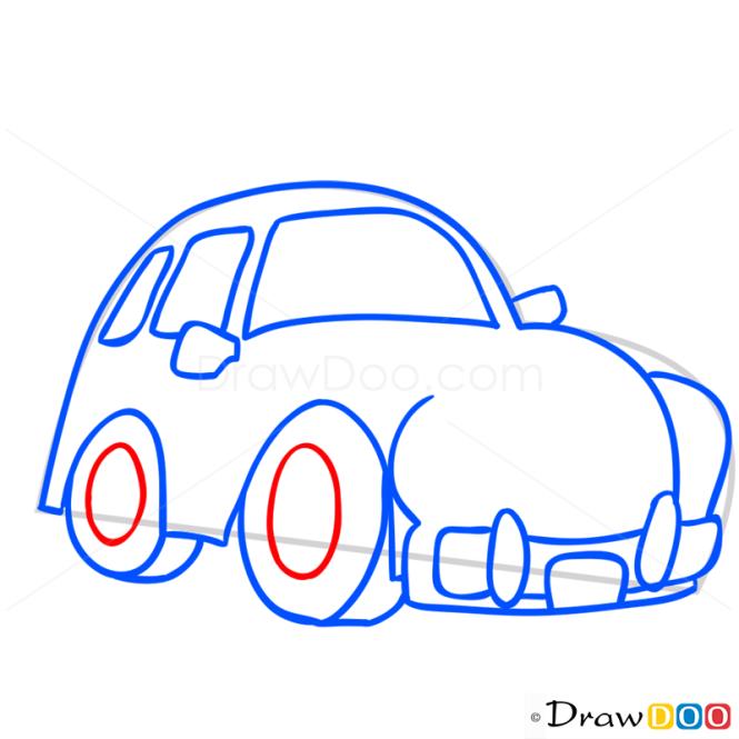 How to Draw Mustard Car, Cartoon Cars