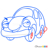How to Draw Proud Blue Car, Cartoon Cars