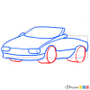 How to Draw Red Cabriolet, Cartoon Cars