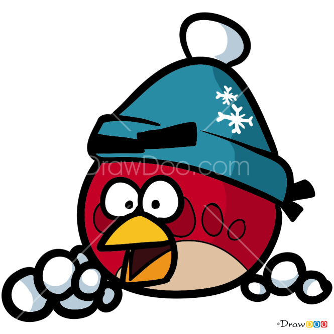 How to Draw Red Angry Bird, Christmas Cartoons