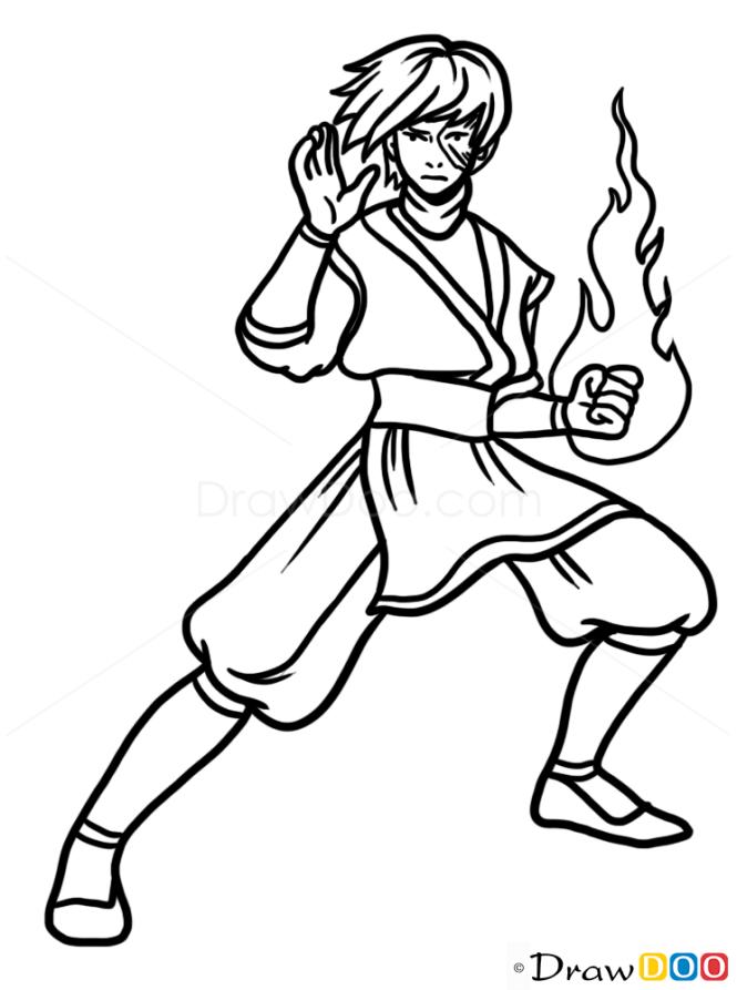 How to Draw Zuko, Cartoon Characters