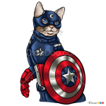 How to Draw Captain Americat, Cats Superheroes