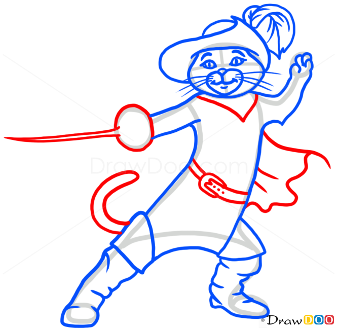 How to Draw Puss in Boots, Cats and Kittens