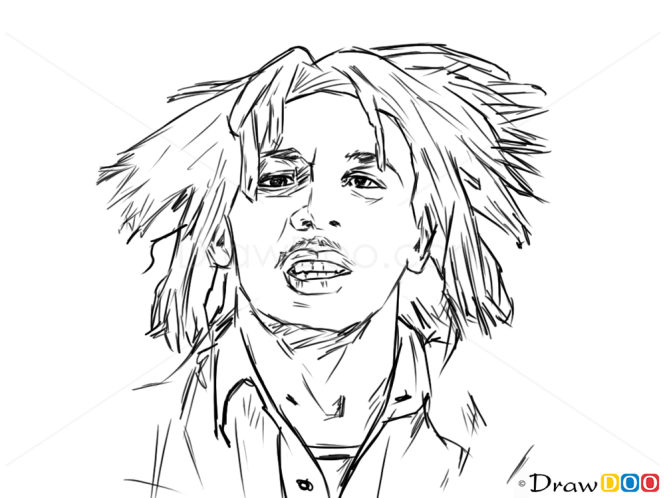 How To Draw Bob Marley Famous Singers