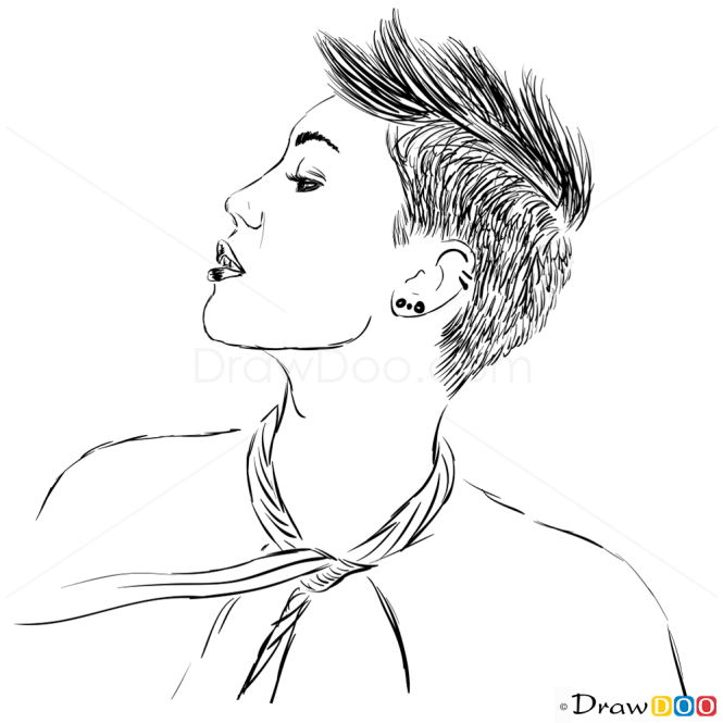 How to Draw ELLE UK, June 2013, How to Draw Miley Cyrus