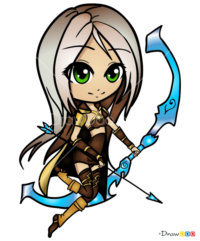 How to Draw Ashe, LOL Chibi