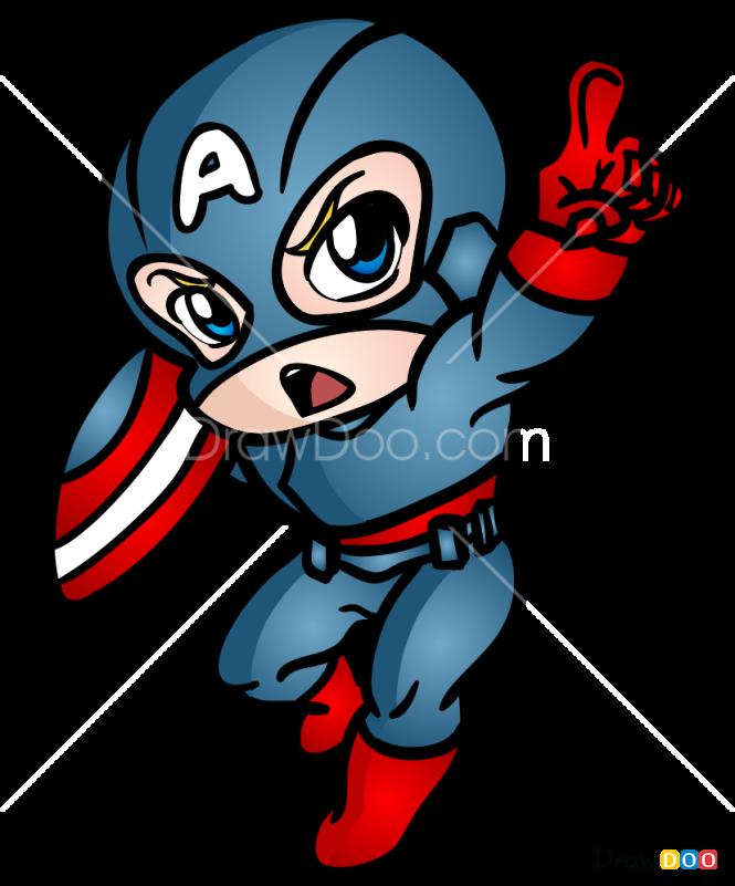 How to Draw Captain America, Chibi Superheroes