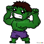 How to Draw Hulk, Chibi Superheroes