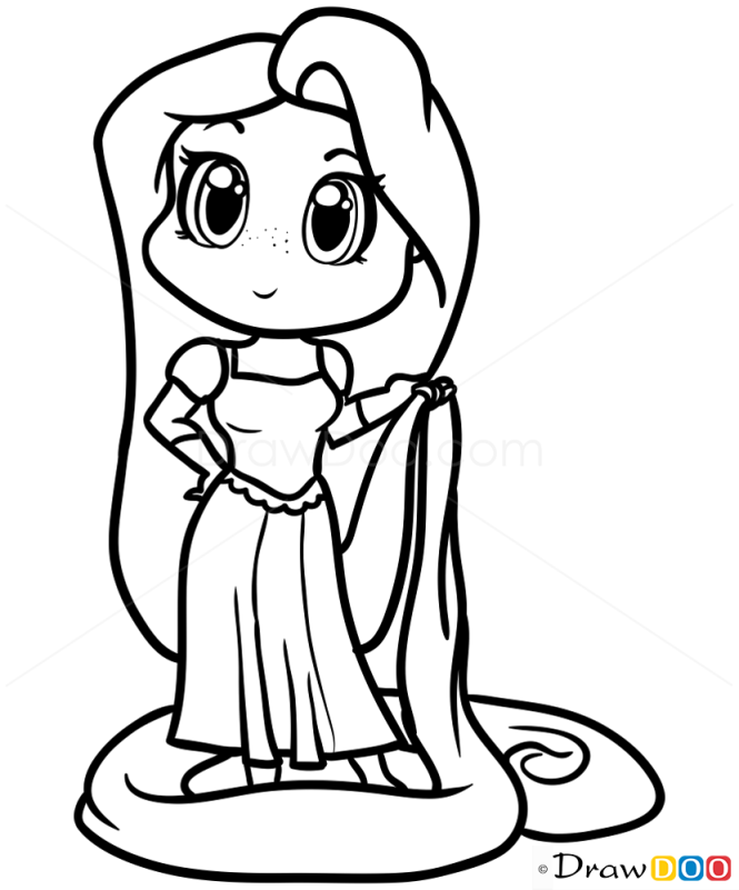 How to Draw Rapunzel Chibi