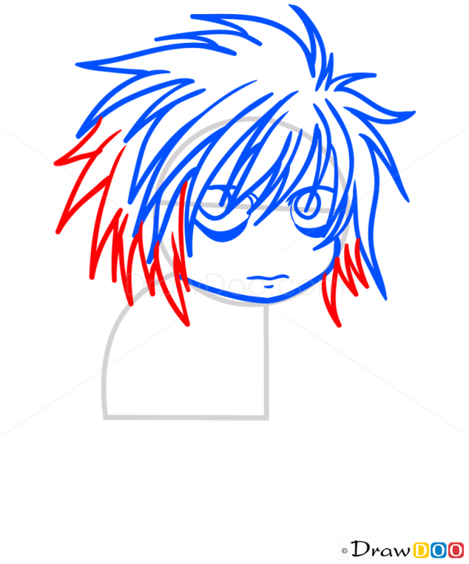 How to Draw L Lawliet, Chibi