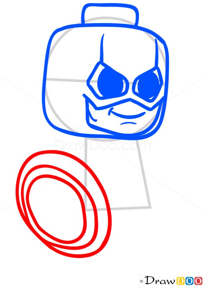 How to Draw Lego Captain America, Chibi