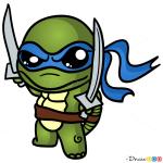 How to Draw Ninja Turtle, Chibi