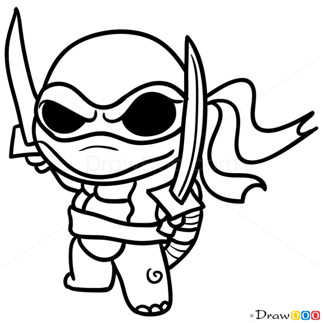 how to draw ninja turtle chibi