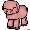 How to Draw Pig, Chibi Minecraft