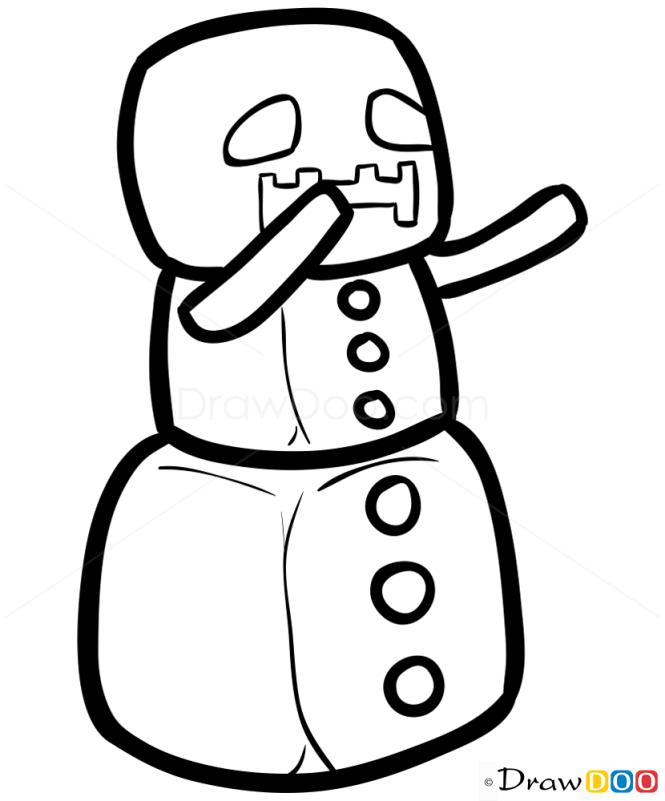 How to Draw Snow Golem, Chibi Minecraft