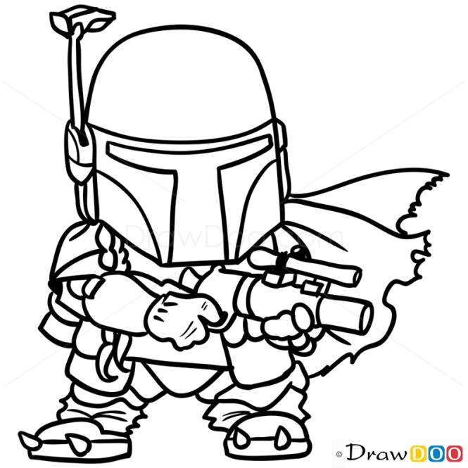 How to Draw Boba, Chibi Star Wars