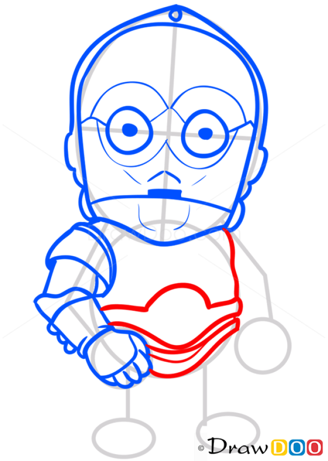How to Draw C-3po, Chibi Star Wars
