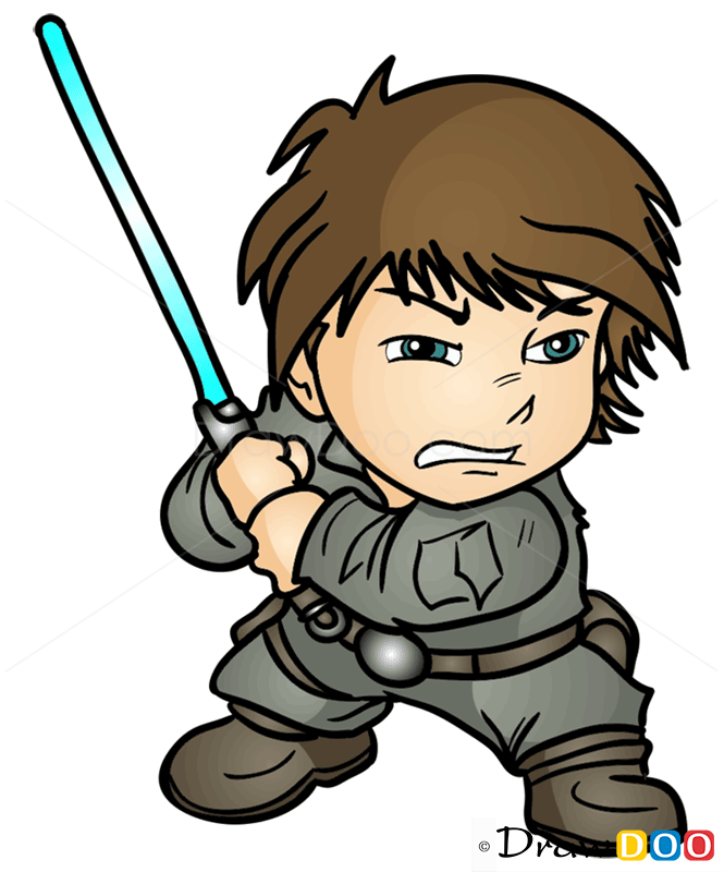 How To Draw Luke Skywoker Chibi Star Wars