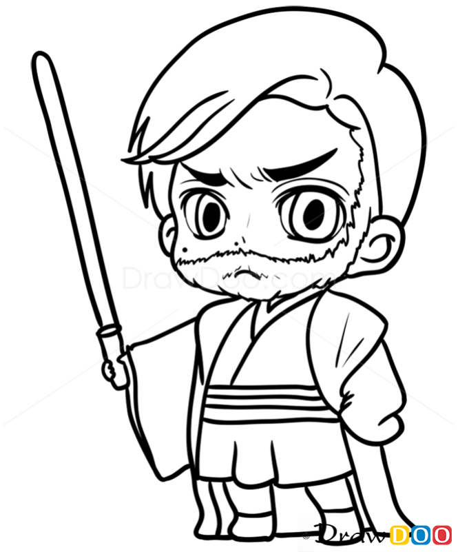 How to Draw Obi-Wan, Chibi Star Wars