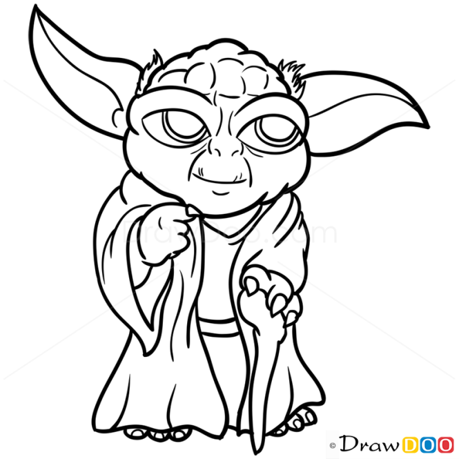 Line Art Yoda : How to draw yoda chibi star wars