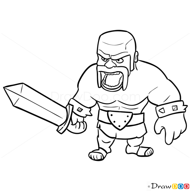 How to Draw Barbarian, Clash of Clans