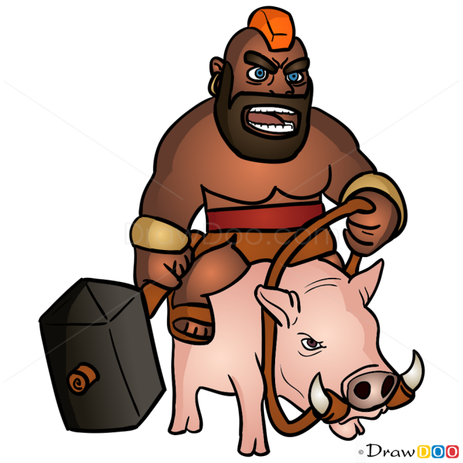 How to Draw Hog Rider, Clash of Clans
