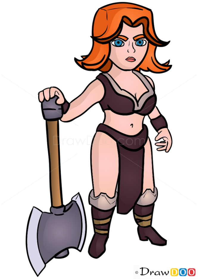 How to Draw Valkyrie, Clash of Clans